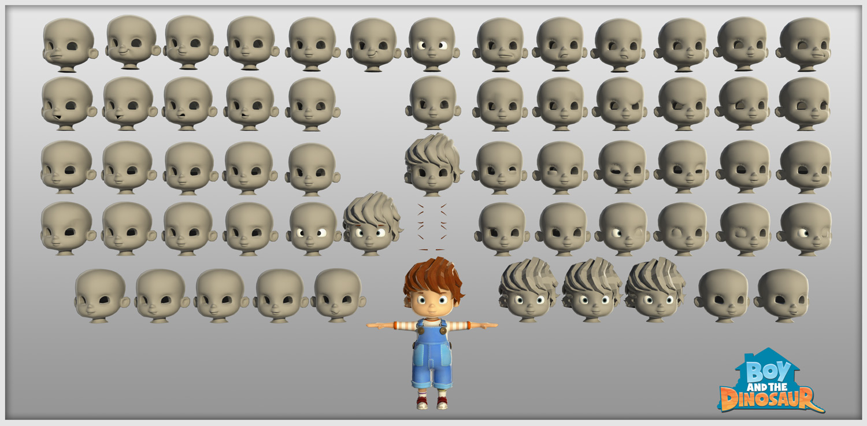 boy, face, rig, rigging, 3d, animation